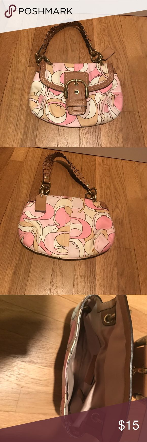 Authentic Pink Coach Purse Tan and light pink coach purse with C logo throughout, authentic, great condition Coach Bags Mini Bags