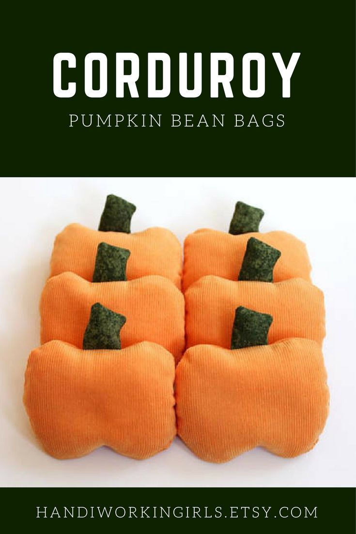 Orange corduroy pumpkin-shaped bean bags add a festive touch to fall table decor or birthday party games: https://www.etsy.com/handiworkingirls/listing/124487641/pumpkin-bean-bags-with-forest-green