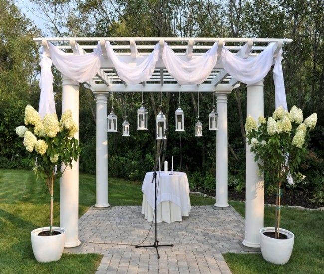 pergola decoration with fabric curtains
