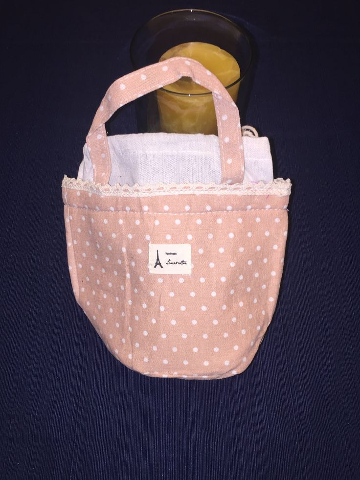 Insulated Lunch Bag (Pink with Cream Polka Dots)
