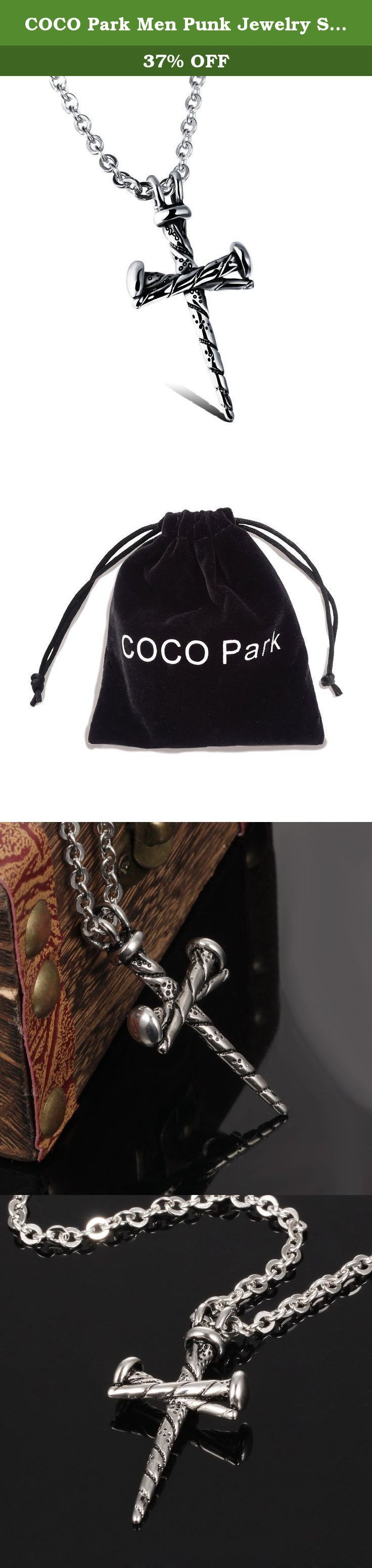 "COCO Park Men Punk Jewelry Stainless Steel Nail Cross Charm Pendant Necklace with Solid Chain 23 5/8"". Description: - As professional jewelry supplier, COCO Park assure you 100% brand new item and high quality stainless steel. - Last longer than other material jewelry. Anti-perspiration, waterproof, durable, fadeless, allergy free. - Contains no nickel. It does no harm to our health. - Can be paired with any style of cloth, casual, business and sport. - New design and unique meaning, make..."