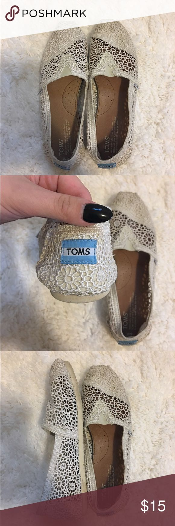 white lace TOMS womens size 9, white lace toms , only worn TWICE! TOMS Shoes Flats & Loafers