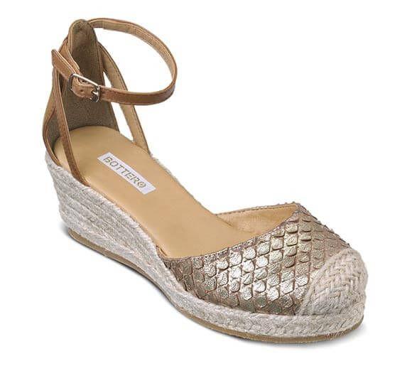 Sandália espadrille anabela dourada   Sandálias   Bottero Calçados