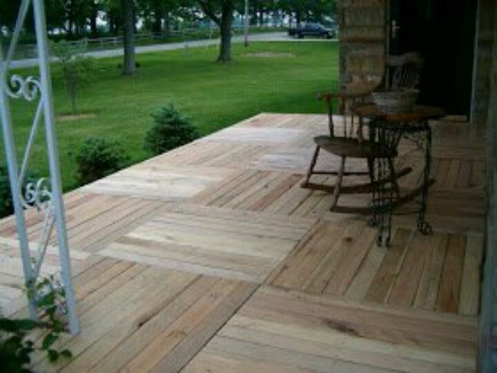 Pallet flooring repurpose recycle pinterest decks for Pallet outdoor flooring