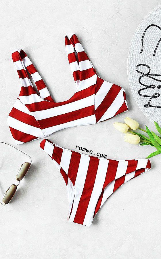 Two Tone Striped Print Bikini Set