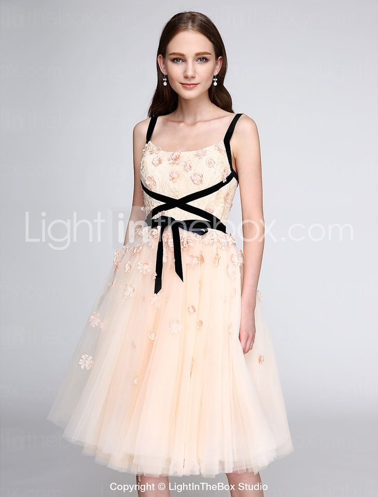 2017 ts couture® χορό κόμμα φόρεμα κοκτέιλ A-line λουριά γόνατο τούλι με λουλούδια (s) 4720051 2017 – €78.39