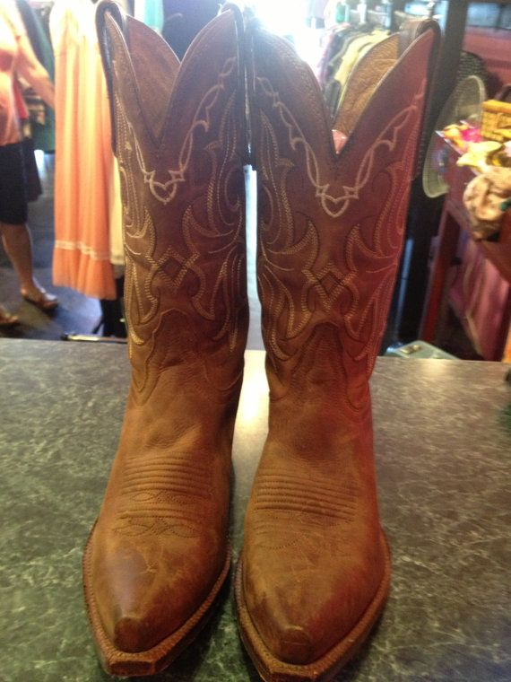 Tony Lama brown cow boy boots women by CestLaVieBoutique6 on Etsy, $150.00