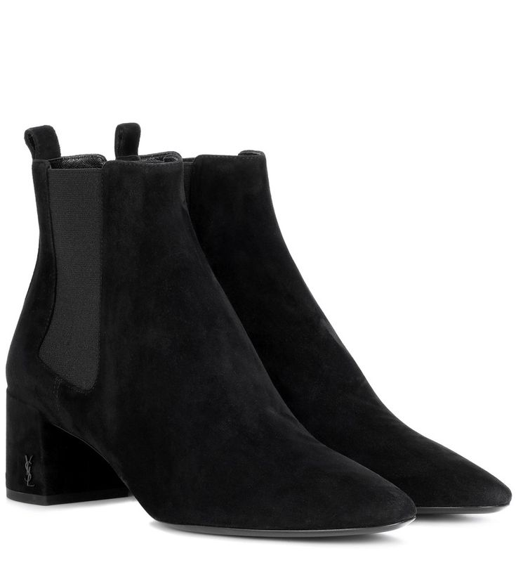 Saint Laurent - Loulou 50 suede Chelsea boots - Saint Laurent's Loulou Chelsea boots are a reliably classic silhouette for season-to-season wear. Crafted from soft black suede, this style comes with elasticated siding and an almond toe. The block heel is finished with the signature YSL logo in subtle glossy detail. seen @ www.mytheresa.com