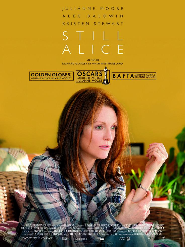Still Alice est un film de Richard Glatzer avec Julianne Moore, Kristen Stewart. Synopsis : Mariée, heureuse et mère de trois grands enfants, Alice Howland est un professeur de linguistique renommé. Mais lorsqu'elle commence à oublier ses mot