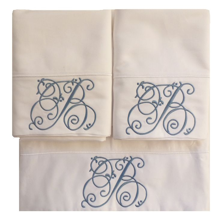 Custom Embroidered and Personalized White 100% Cotton 1000 Thread Count Sheets in Queen or King Size and Monogrammed. This is a set of 100 percent cotton, 1000 thread count queen OR king size sheets. Simply exquisite! The top sheet and both pillowcases are monogrammed as shown with a single initial that is commensurate in elegance to the sheets. It is shown in a french blue, but you may choose a different thread color of course.