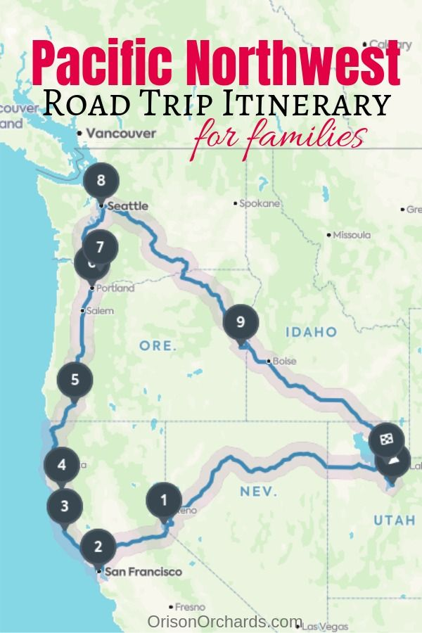 road map of pacific northwest Pacific Northwest Road Trip Itinerary For Families Road Trip Map road map of pacific northwest