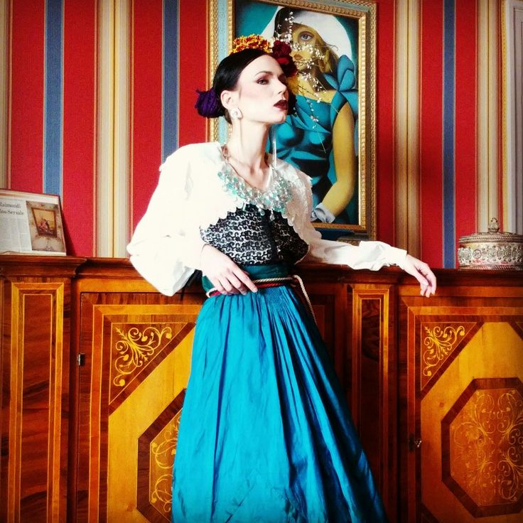 Our styling and period dresses for a fashion shooting in Italy  #frida #dress #art #design #styling #makeup #glamour #moda #fridakahlo #paint #house #hairstyle #glam #gown #vintage #style #vogue