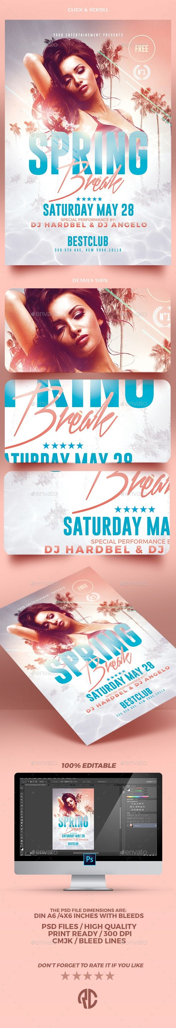 beach party, creative, electro, event, flyer design, flyers, holiday, hot, invitation, minimal, minimalist, music, opening, palm, party, party flyer, poster, print, sexy, spring, spring break, spring break party, Spring Party, summer, summer party, template, templates Spring Break Flyer Templates Exclusive Template, Very easy to Edit and Creative Design perfect to promote your Spring Break Party ! Package Features: 1 PSD Files Included DIN A6 Format (6×8.4 inches with bleeds ) CM…