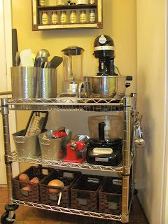 Use an industrial metal cart from Sams Club as a storage cart for kitchen appliances and tools. (Whitney Miller Masterchef)