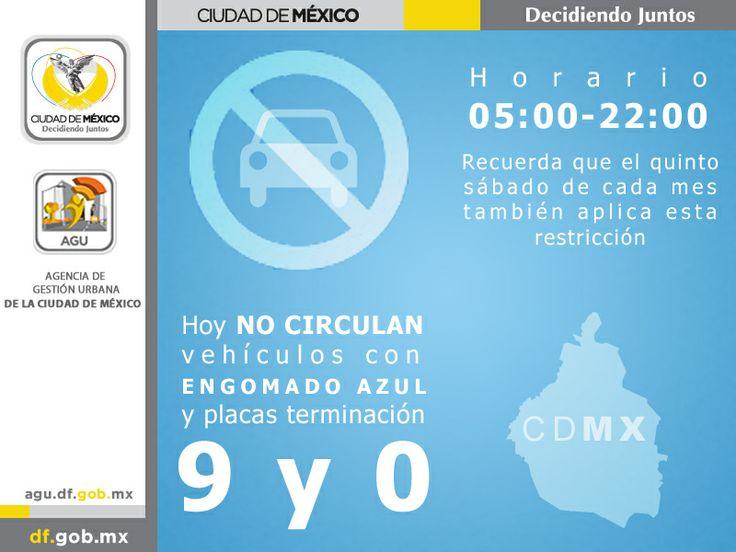 Recuerde que este Viernes no circulan autos con engomado azul, terminación 9 y 0. #HoyNoCircula