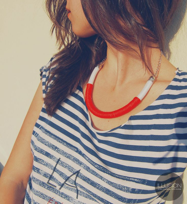 Navy stripes + red rope necklace = summer!