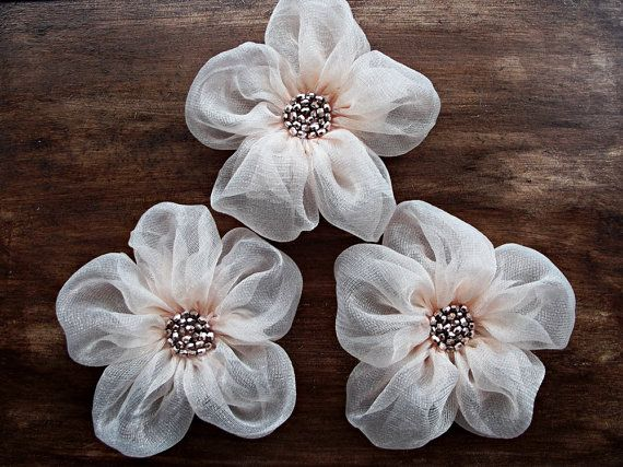 Pale Pink Fabric Flowers Handmade Appliques by BizimSupplies