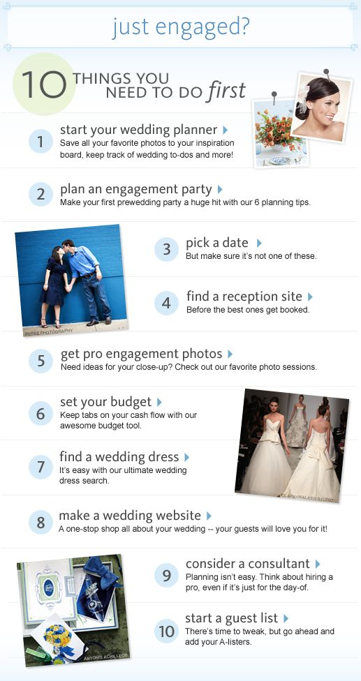 10 things to do first when you get engaged... great page!!