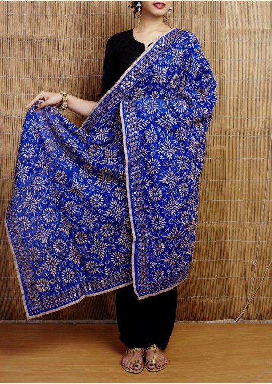 Blue Phulkari Embroidered Handloom Cotton Dupatta