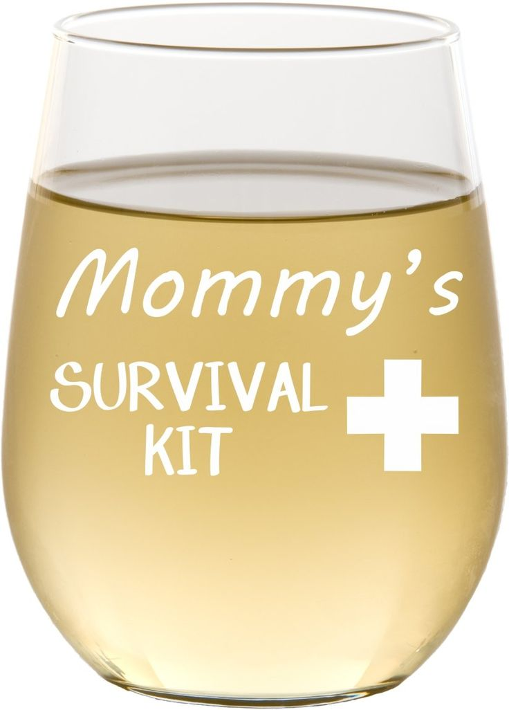 Mommy's Survival Kit Funny Wine Glass, 17 oz Engraved Stemless Wine Glass for Mother's Day Gift, Gift For Mom, Sister, Friend - SG13