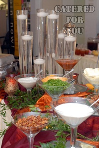 Mexican Taco Bar condiments buffet... I have a bunch of margarita glasses... This could be easy:)