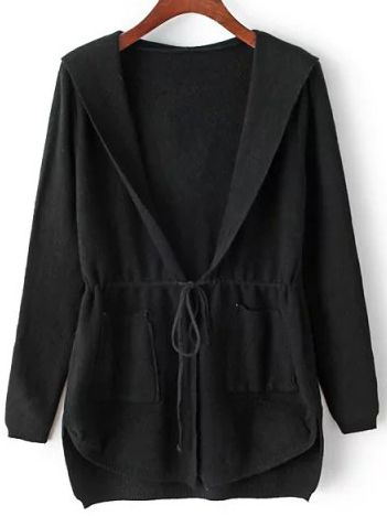 Shop Black Hooded Drawstring Waist Pockets Sweater Coat online. SheIn offers Black Hooded Drawstring Waist Pockets Sweater Coat & more to fit your fashionable needs.