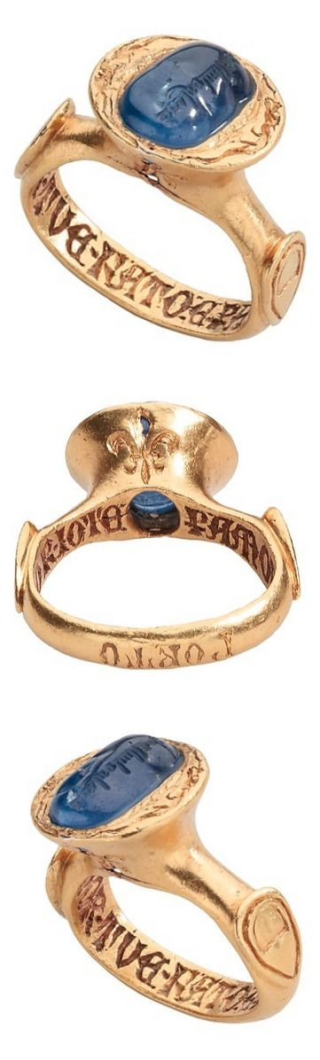 Inscribed Sapphire Ring Date: late 14th century (setting); 10th century? (sapphire) Culture: Italian Medium: Gold, sapphire Dimensions: Height 30.8 mm; hoop outer diam. 27.89 mm; bezel 16.15 x 17.4 mm; weight 23.5 grams