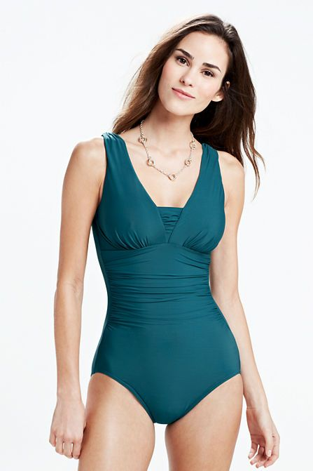 00045591846 Women's Grecian One Piece Slender Suit from Lands' End --- with a sarong,  this could be a modest swimsuit! | fashion | Women's one piece swimsuits,  ...