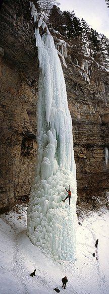 Frozen Waterfall!.....AMAZING!... (The   Fang waterfall in Vail, Colorado, USA) ice climbing