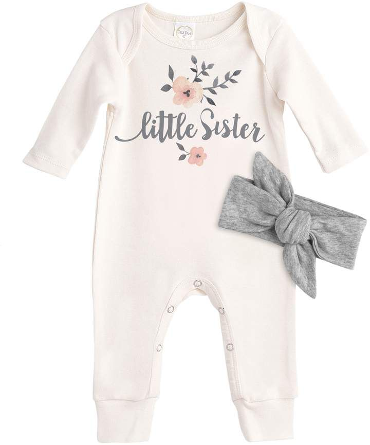 Adorable coming home outfit for the newest member of the family. Little Sister Cotton Romper & Headband.  baby shower gift, coming home outfit, bow, floral, summer, spring, baby girl, fashion, outfits, clothes, stylish, afflink