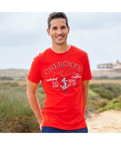 Cherokee Mens Red Nautical T-Shirt - Size Small.