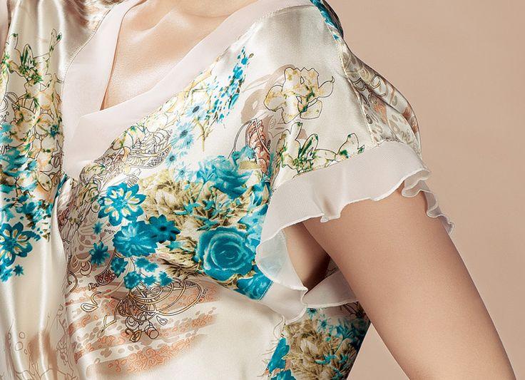 100% шелк пижамы женщин летом печать шелковой ночной рубашке 2530, принадлежащий категории Ночные сорочки и рубашки и относящийся к Одежда и аксессуары для женщин на сайте AliExpress.com | Alibaba Group
