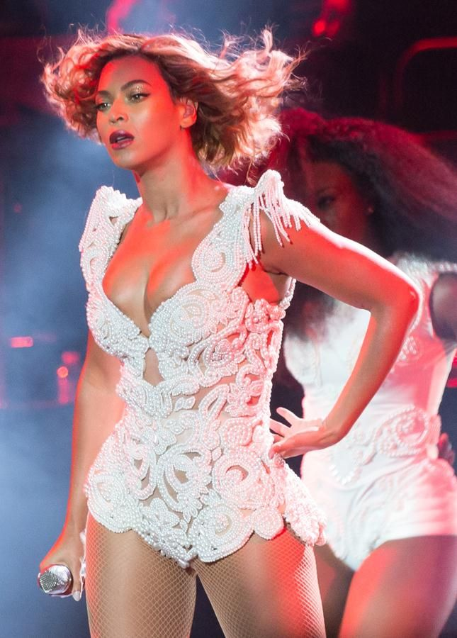 Beyonce rocking a pearl-embellished, custom-made Timothy ...