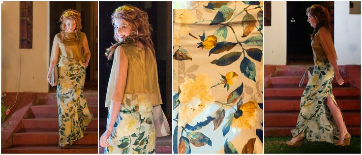 Adanna Fashion Show 2014 - Outfit #3 #sheer top with #long #floral #linen skirt and #leather handbag  Material: #Linen & #leather