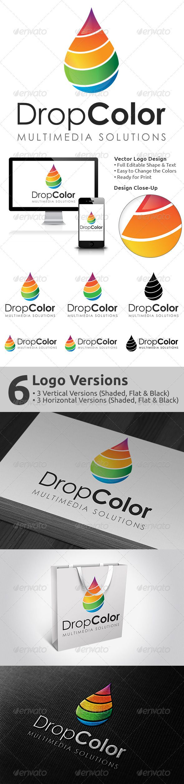 DropColor Logo Design by Arh DropColor Logo Design in vector format. Very easy to customize the text, colors and size. An excellent logo template suitable for