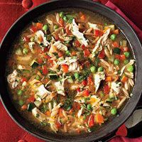 Rachel Ray's Toasted Orzo Chicken Soup - Hmmm, perfect game day or Fall Sunday soup!