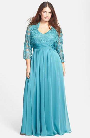 Adrianna Papell Chiffon & Lace Gown & Jacket (Plus Size) available at #Nordstrom