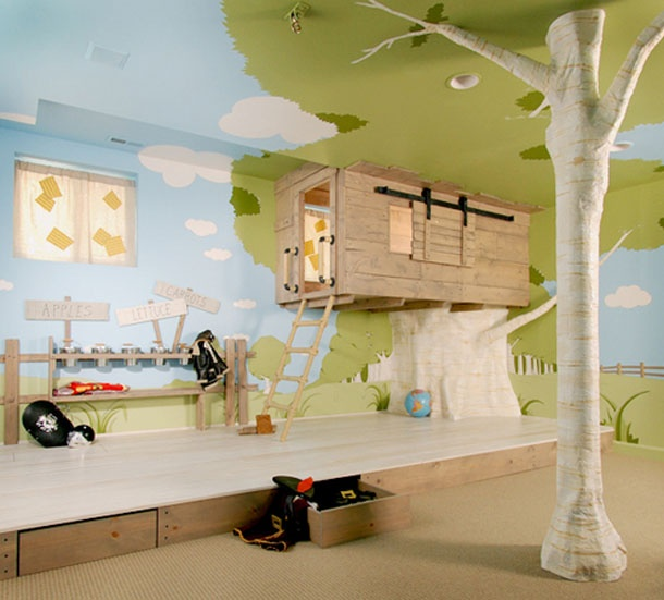 Kids Room Ideas For Playroom: LOVE This Finished Basement / Kids Room / Garden And All