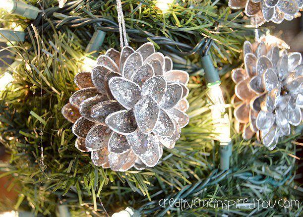 Pistachio Shell Flower Ornaments - CreativeMeInspiredYou.com