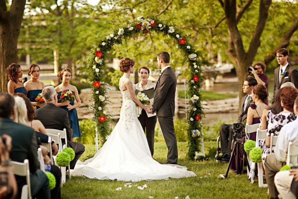 Outdoor Ceremony : Wedding Ceremony Diy Flowers Green Navy