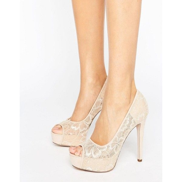 Little Mistress Nude Peep Toe Stilettos with Floral Lace Overlay ($40) ❤ liked on Polyvore featuring shoes, pumps, beige, nude pumps, stiletto pumps, nude peep-toe pumps, peep toe pumps and peep-toe pumps