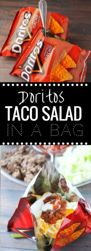 Doritos Taco Salad in a Bag!  This is by far the dinner my kids request the most due to the fun factor - Doritos Taco Salad Recipe in a Bag! Doritos, taco meat, & cheese = perfection. | http://happymoneysaver.com/?utm_campaign=coschedule&utm_source=pinterest&utm_medium=Karrie%20%7C%20HappyMoneySaver&utm_content=Doritos%20Taco%20Salad%20in%20a%20Bag%21