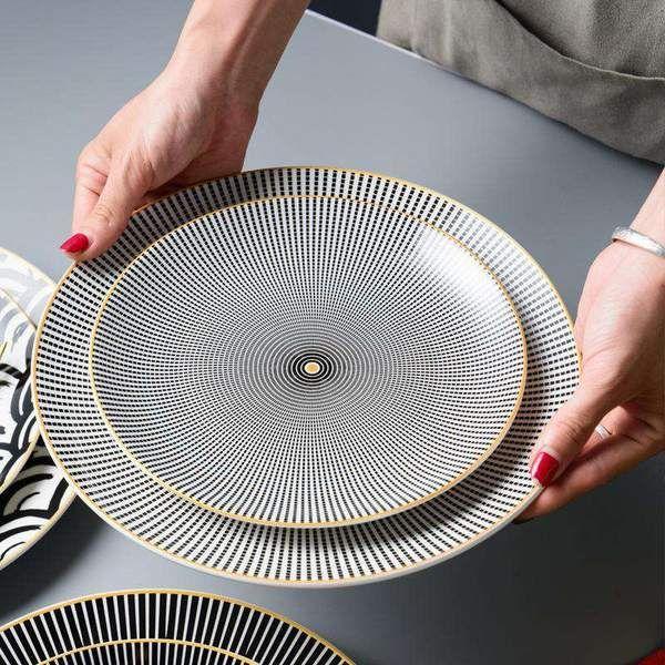 Phnom Penh Ceramic Geometry Round Plate 6 8 10 Inch Ceramic Dinner In 2020 Dinner Plate Sets Unique Plates Ceramic Dinnerware Set