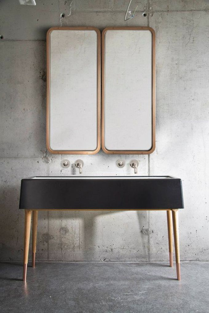 As Aperitivo by Nika Zupanc in Ljubljana, Slovenia - Chic industrial sink and mirror combo | Luxury Interiors, luxury furniture, designer furniture, high end furniture, home design,  For more inspirations: http://www.bocadolobo.com/en/inspiration-and-ideas/