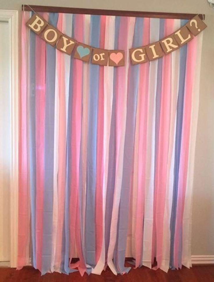 entrada com fitas de cetim nas cores rosa e azul