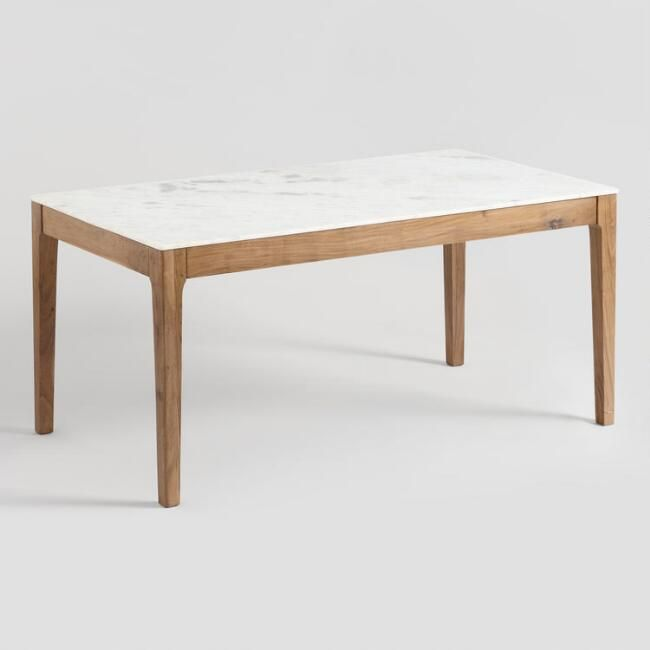 Marble Top And Acacia Wood Fletcher Dining Table Dining Table