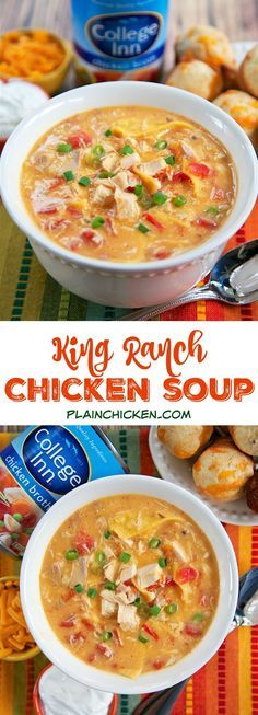King Ranch Chicken Soup - THE BEST soup I've ever made! All the flavors of King Ranch Casserole in soup form. Rotisserie chicken (or leftover turkey), cream of chicken, cream of mushroom, Rotel tomatoes, spices, College Inn chicken broth, Velveeta and tortillas. Ready in under 30 minutes. Can also make in slow cooker.