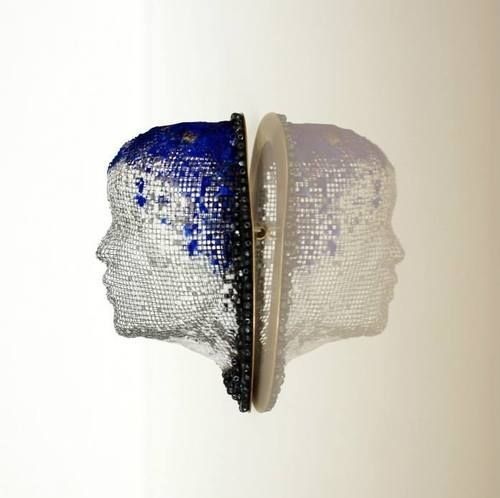 "Alina Carp - ""Undisclosed"" - brooch - 2014   - steel mesh, silver, brass, resin, pigments, hematite."