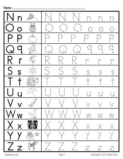 FREE printable uppercase and lowercase letter tracing worksheets. These alphabet tracing worksheets include the full alphabet A-Z. Great for toddlers, preschool, and kindergarten. Get the free tracing alphabet worksheets here --> http://www.mpmschoolsupplies.com/ideas/7592/free-uppercase-and-lowercase-letter-tracing-worksheets/