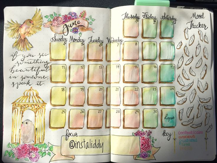 Bullet journal monthly log and mood tracker 🎀